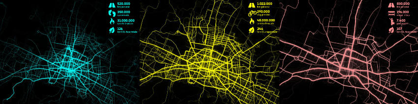 Heat maps of BetterPoints walking, cycling and bussing around Bologna during the 2017 Bella Mossa programme.